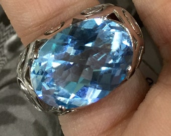 Blue Topaz silver 925 Ring
