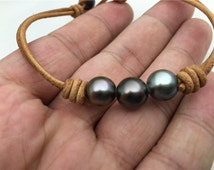 Fashion,Real Tahitian pearl bracelet,High Luster pearl, Pearl Leather bracelet,Taitian pearl bracelet, Black Leather Pearl bracelet,Le10-001