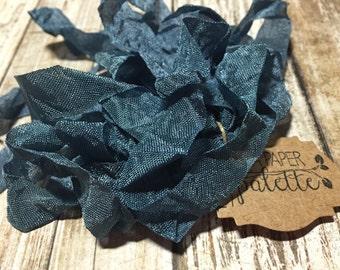 "Seam Binding Crinkle Ribbon, 15 yards 1/2 inch wide ""Deep Blue Sea"" scrapbook jewelry wedding craft supplies garland wands tassel packaging"