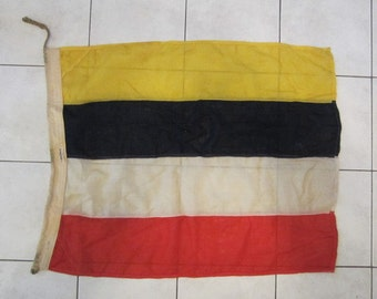 Vintage Cotton Red, White, Yellow And Blue Nautical Signal Flag Made By J.J. Turner Company