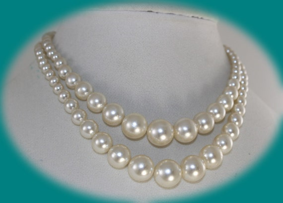 Chunky Pearl Necklace Vintage Double Strand Pearl Necklace