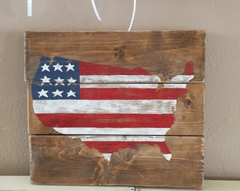 USA Flag Rustic Wooden Sign
