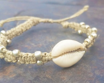 Beaded Shell Hemp Bracelet