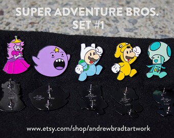 Super Adventure Bros. Pin Set.