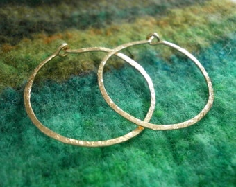 "Gold Hoops Small 1"" Classic Gold Hoops 14kt Gold Fill Hoop Earrings Hammered Wire Jewelry"