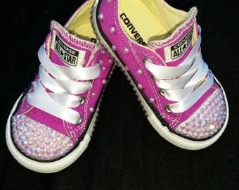 Kids Bling & Pearls Custom Converse Sneakers- Purple Converse- Purple Pearls- Purple Crystals- Kids Low Top Converse Sneakers