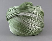 SHIBORI SILK RIBBON [20 cm] - Soft Green - original hand dyed by ShiboriGirl bias cut silk satin ribbon