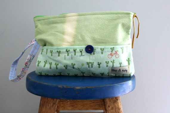 Hand Dyed Fabric Clutch Purse for Tween Girls/Wristlet for Girl/Mice on Bikes by Lizzie House/Handbag for Girls