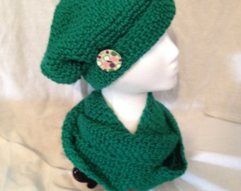 Green Infinity Scarf and Hat