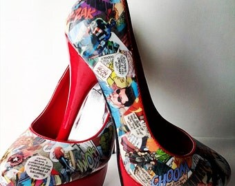 Comic book Heels, Comic Book Superhero Shoes, Going Out Shoes, Decoupage, OOAK, Customised