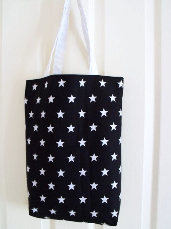 black shopper, shopping tote bag for holidays, cotton carry all, black and white star fabric