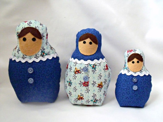 "matryoshka babushka dolls, russian nesting dolls, kawaii dolls, blue floral and heart fabric, home decor 7"", 6"", 4.5"""