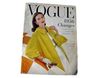 Vintage Vogue Fashion Magazine January 1956 / Fashion Photography / Vintage Advertising / Vintage Fashion