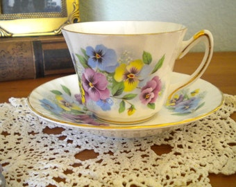 Pretty Pansy Tea Cup by Delphine Bone China