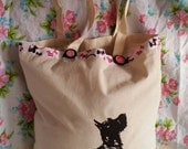 Scottie dog heat pressed transfer on a tote Eco cotton canvas bag. Ribbon banding and vintage buttons.