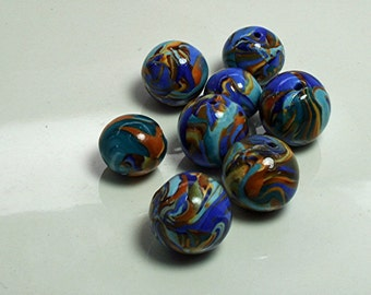 2 Mixed lots of 8 Polymer Clay Beads Swirling Blue, White and Gold and Purple, Gold