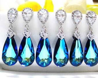 15% OFF Set of 6 Bermuda Blue Swarovski Crystal Teardrop Earrings Wedding Jewelry Bridesmaid Gift Bridal Earrings Blue (E002)
