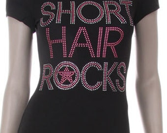Short Hair Rock! with Star Rhinestone Iron on Shirt