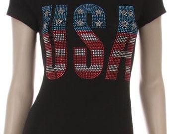 American Flag  USA Rhinestone Shirt
