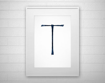 Typography Art Print - T - Letter poster - Printable - Wall Art