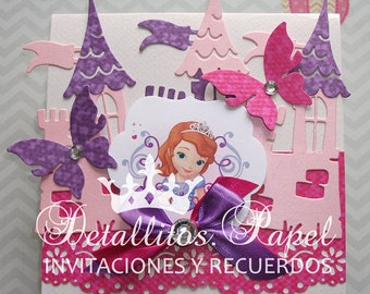 Sofia the first invitation, invitation, Princess Invitation, Sofia castle invitation