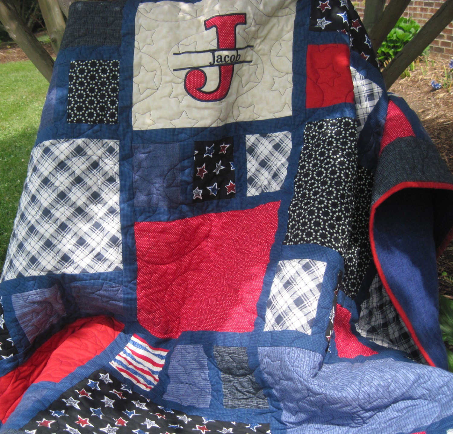 Sports Themed Quilt Patterns : Sports themed quilt....The Jacob Quilt by LancasterRoad on Etsy