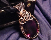 Red Glass (Quartzite) Faceted Large Crystal Wire-wrapped Copper Pendant Necklace, Gothic
