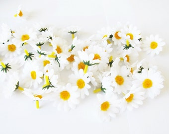 """Lot of 100 Artificial Daisies Silk Flowers Little White Chamomile With Yellow Center Measuring 1.6"""" Floral Hair Accessories Flower Supplies"""