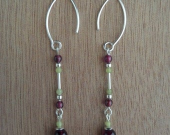 Delicate Sterling Silver Earrings with Olive Jade and Garnet