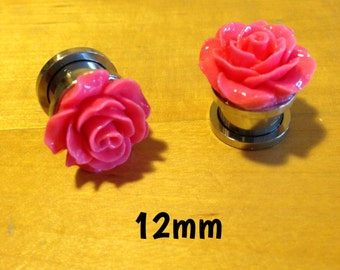 12mm bright pink rose ear plugs for stretched ears