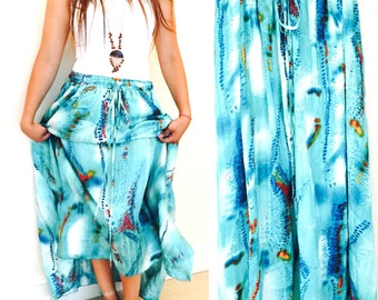 Maxi Skirt / Long Maxi Skirt / Turquoise Green Long skirt/ Summer Skirt / Medium