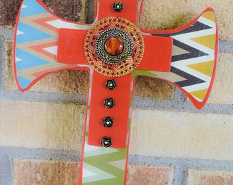 Hand painted southwestern cross