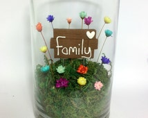 Little Fairy Blooms Real Miniature Flowers - Family Sign . Home Decoration. Terrarium Decor.  Gift for your family or for first baby