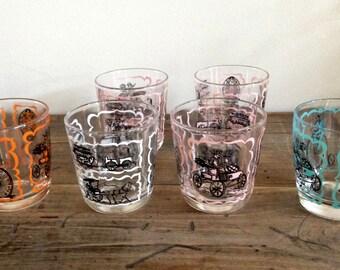 6 Vintage Retro Mid-Century Gay 90s Theme High-Ball Bar Glasses 1950s M424-4