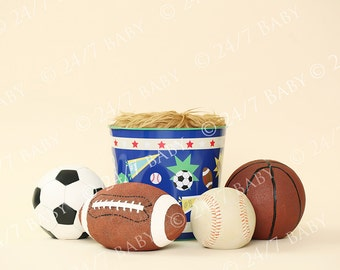 Digital Studio Backdrop Sports Bucket Scene Basketball Baseball Football Soccer Newborn Baby Photography