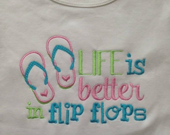 Embroidery design 5x7 Life is better in flip flops, summer embroidery, beach embroidery, flip flop embroidery