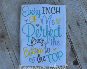 Every inch of me is perfect Embroidery design 5x7, Embroidery sayings, socuteappliques, new baby embroidery, baby girl embroidery
