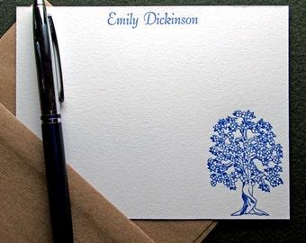 Custom Letterpress Stationery - 15 Personalized Notecards - Tree Theme