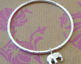 Silver Elephant Bangle, silver bangle, elephant jewellery