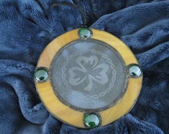 Handmade Celtic Stained Glass Suncatcher with Irish Shamrock Engraving