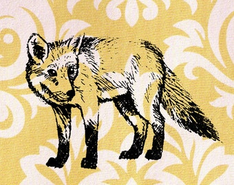 Fox Stamp - Fox Standing and Looking to the Side: Wood Mounted Rubber Stamp