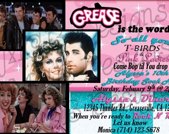 Set of (8) Grease Inspired Birthday Invitations or Set of (8) Thank you Cards