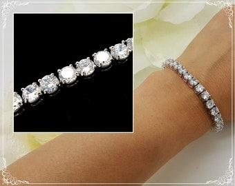 AAA Cubic Zirconia Wedding Bracelet, CZ Bracelet, Bridal Accessory, Wedding Accessory