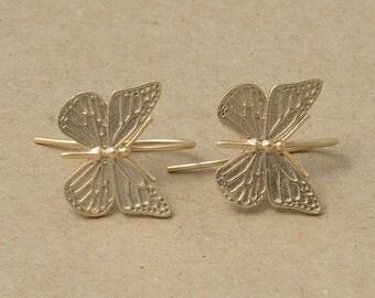 Butterfly Hook , Jewelry Craft Supplies, Matte Gold Plated over Brass - 2 Pieces-[AH0001]-MG