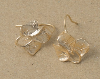 Flower Hook Earring Component, Jewelry Craft Supplies, Matte Gold Plated over Brass - 2 Pieces-[BH0008]-MG