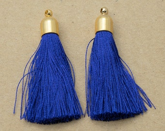 Cobalt Blue Cotton Tassel(Long), Jewelry Supplies,Simple Tassel Polished Gold Plated Over Brass - 2 pieces-[GP0004]-COBALTBLUE/PG