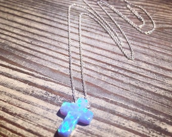 New 925 sterling silver necklace with Opal cross pendant