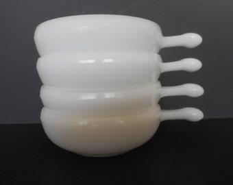 Vintage Glasbake USA Chili Bowls....Mid Century Handled Soup Bowls...Milk Glass Mini Casseroles...Individual Serving Bowls...