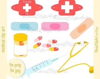 9x medical clipart - instant download - digital get well clip art - commercial use allowed - medicine med - first aid kit - doctor gp health