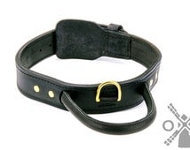 Super Durable Leather Dog Collar with Handle and Solid Brass Buckle for Easy Training. Wide - 1 3/4 inch (45 mm) (model OldMill-C33)